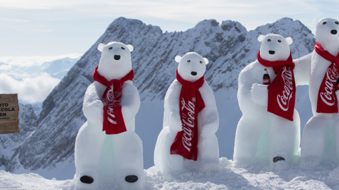 Werbung | Coca-Cola Polarbären auf der Zugspitze gesichtet