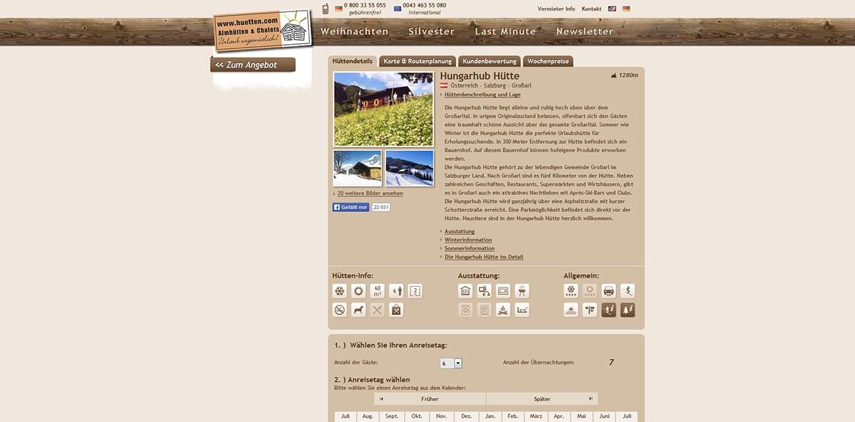 Urlaub in einer Almhütte – Buchungsportal www.huetten.com vorgestellt