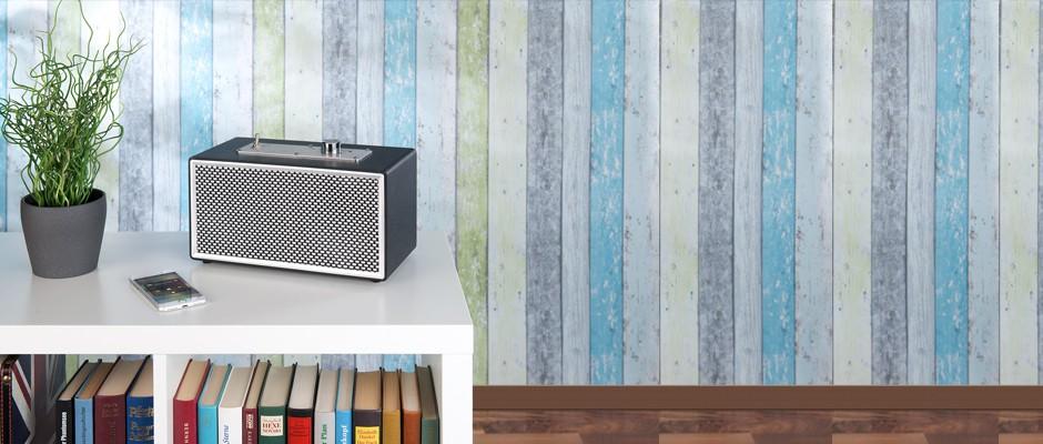 auvisio Mobiler Retro-Lautsprecher mit Bluetooth 4.1 und AUX-Eingang