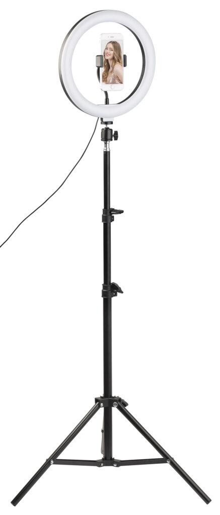 Somikon LED-Lichtring mit variablem Stativ für perfekt ausgeleuchtete Selfies