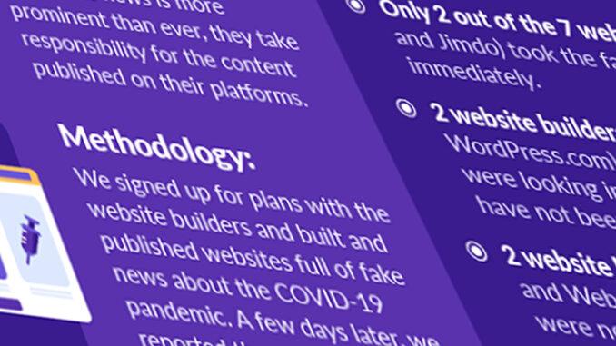 Forschungsbericht zu Fake News: Helfen Website-Builder bei der Verbreitung von Fake News?